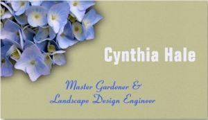custom blue hydrangea business cards