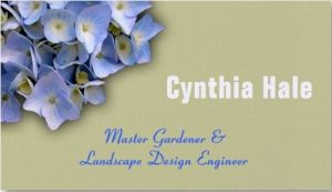 custom blue hydrangea business cards