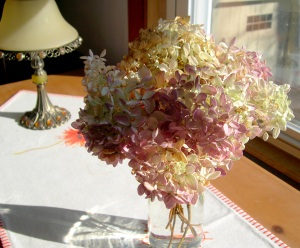 Pink and Cream Dried Hydrangea Bouquet