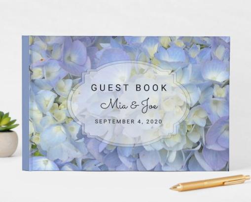 blue hydrangea wedding guest book