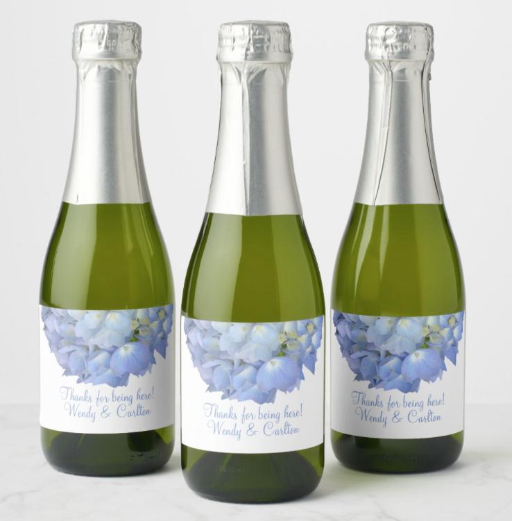 blue hydrangea wedding mini-champagne bottle labels