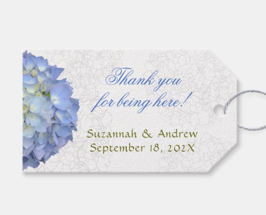 blue floral tie on favor tags moon hydrangea
