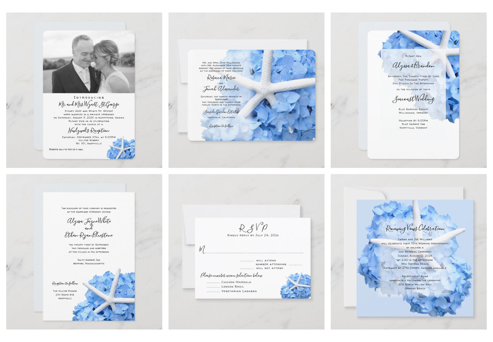 Seaside Garden blue hydrangea wedding stationery set