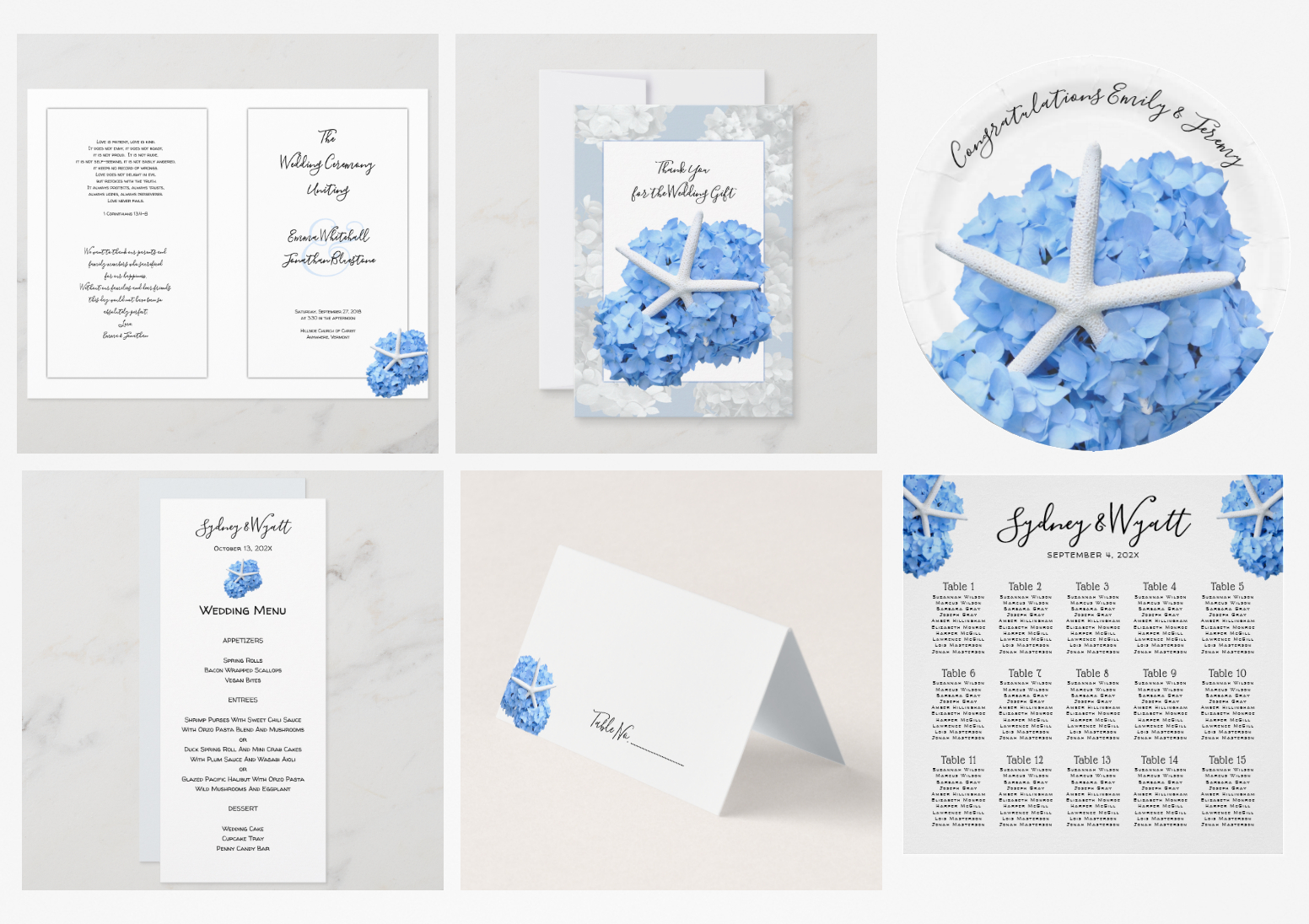 Seaside garden wedding stationery set
