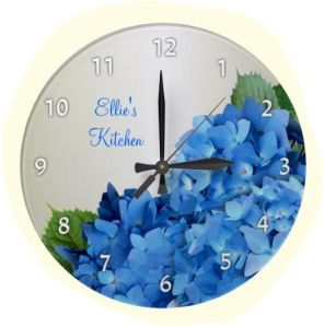 Round wall clock with blue hydrangea flowers