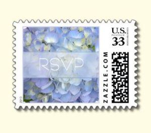 light blue floral postage