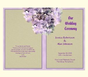 burlap and lavender flowers program