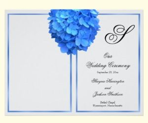 Blue Hydrangea Wedding Program Cover With Monogram Template