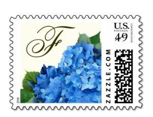 blue floral monogram postage stamps