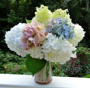 white, pink, blue hydrangeas vase