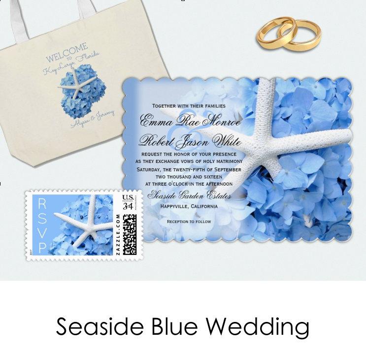Seaside blue hydrangea wedding