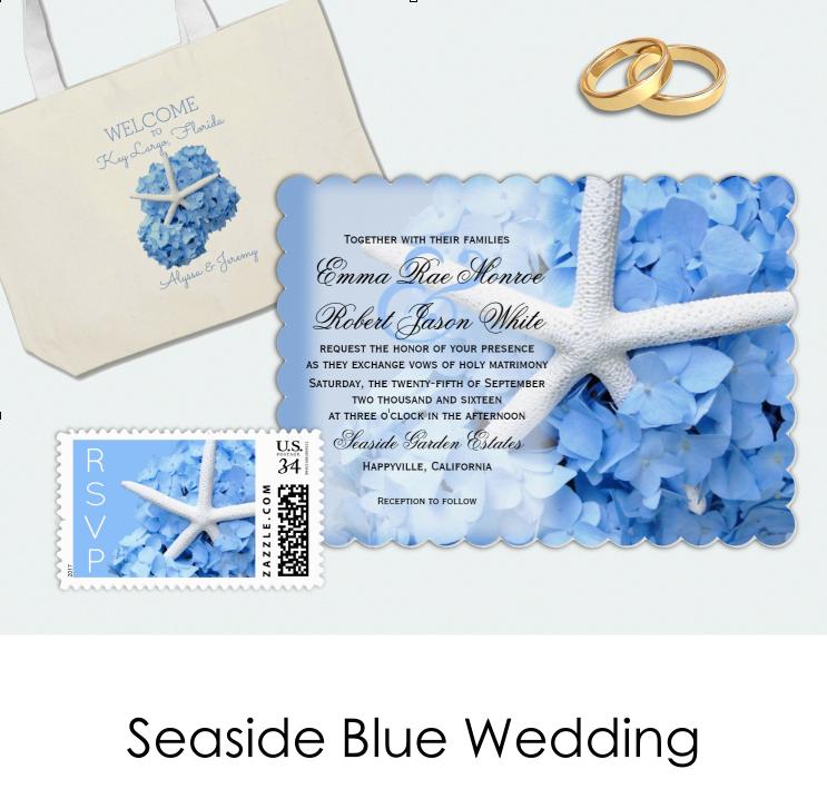 Seaside blue hydrangea wedding