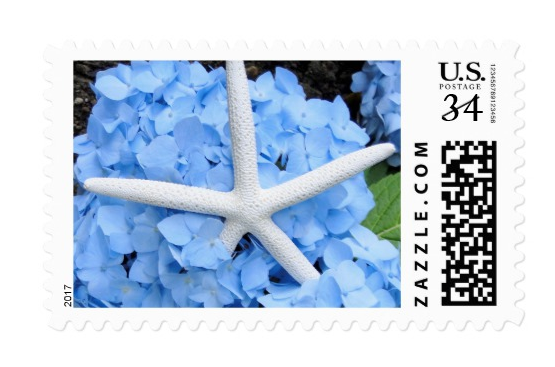 blue hydrangea and starfish design