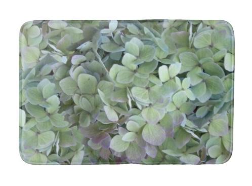green hydrangea floral bath mat
