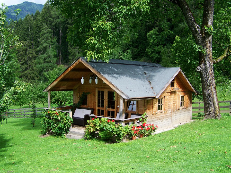 small house cabin with porch