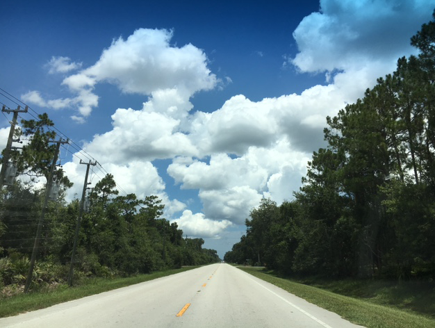 straight road and blue sky