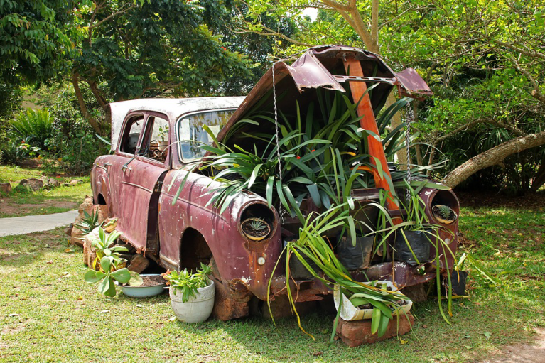 old car used as plant stand