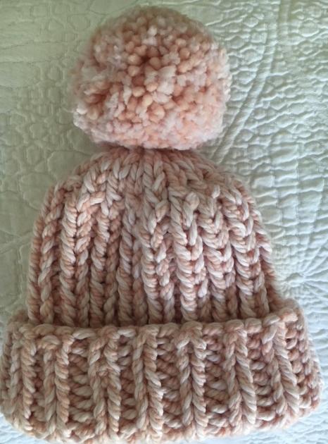 knit baby hat with pom pom
