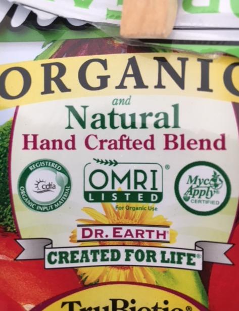 Dr. Earth certified organic fertilizer seals