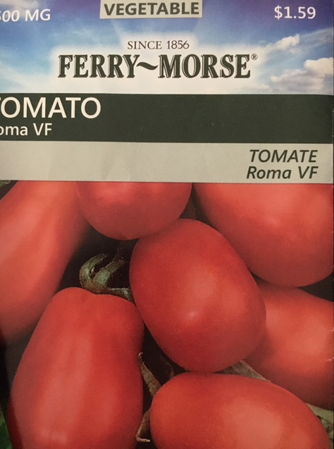 Roma tomato seed packet