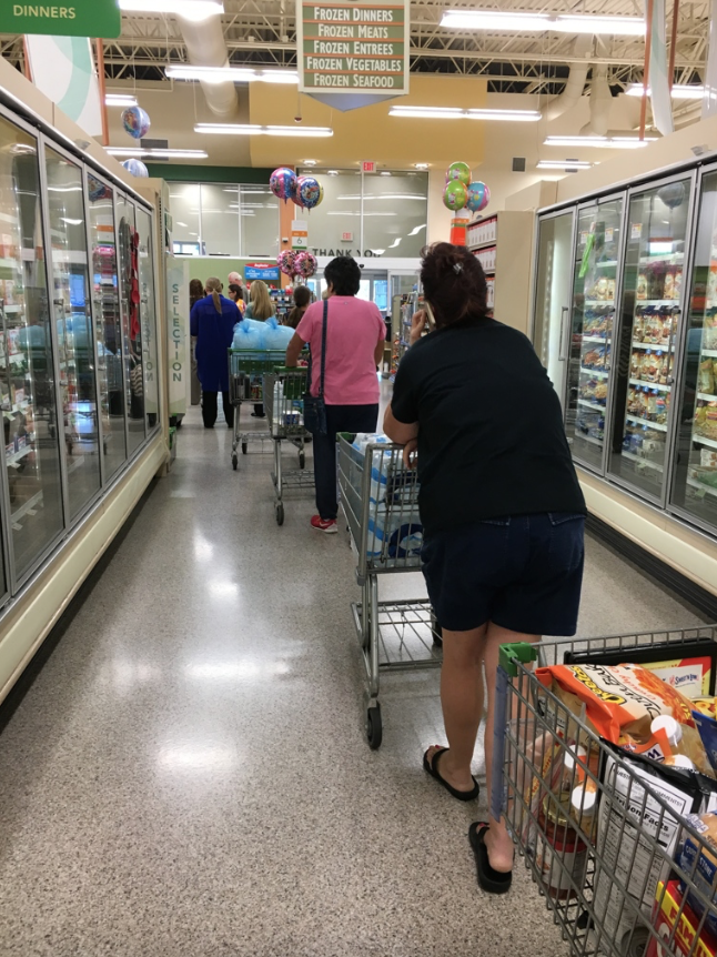 Standing in line at Publix when I shopped to stock up for Hurricane Matthew in October 2016.