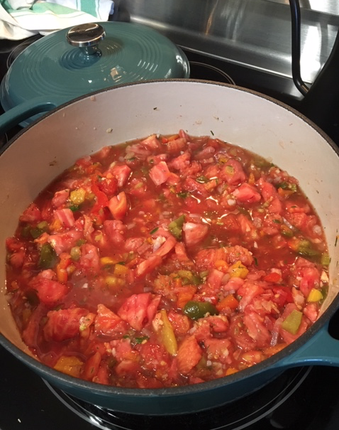 Chopped tomatoes and vegetables simmering in pot