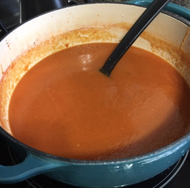 Tomato soup in a dutch oven