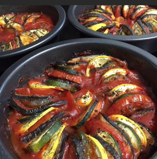 Baked ratatouille is ready to eat