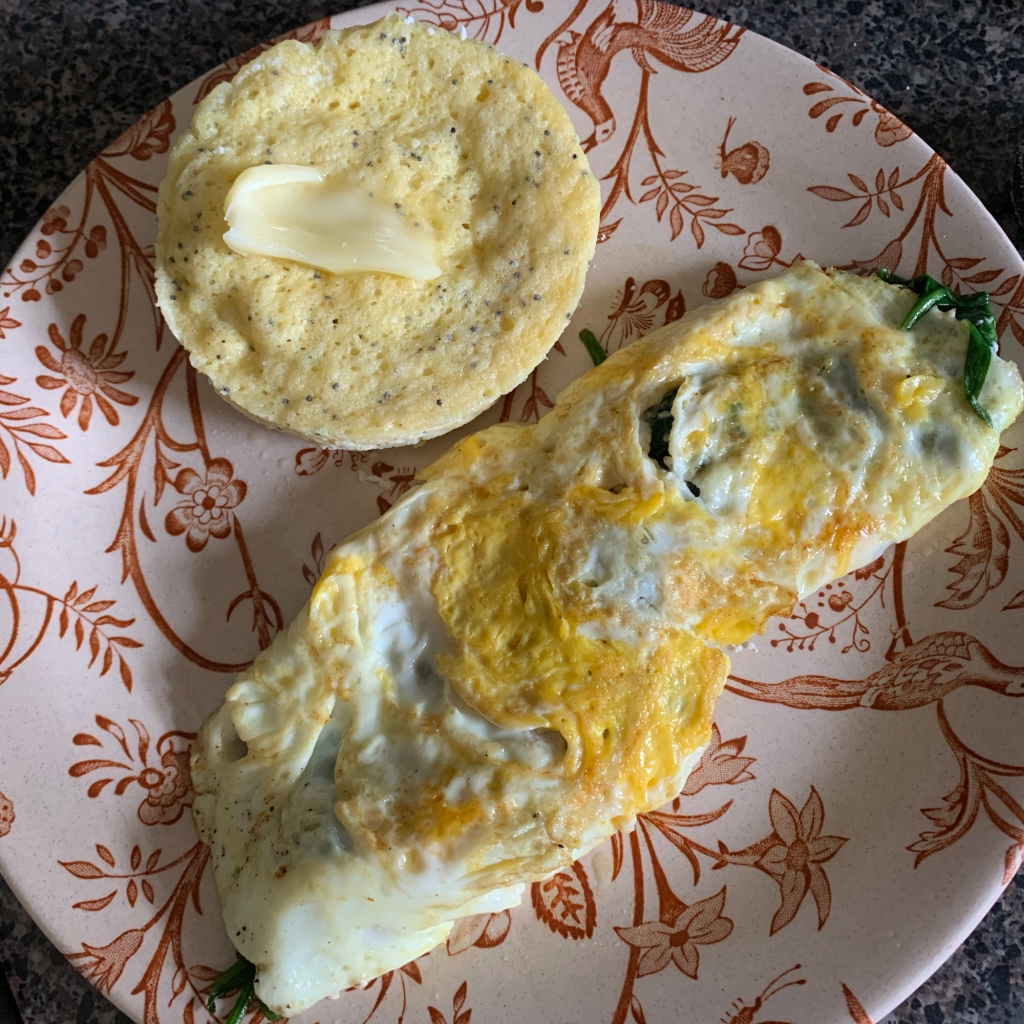 Keto breakfast of quick bread and omelet