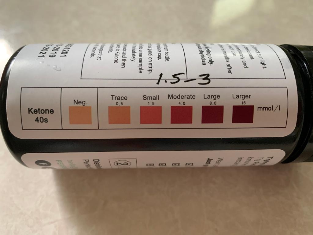 Ketone urine test strips