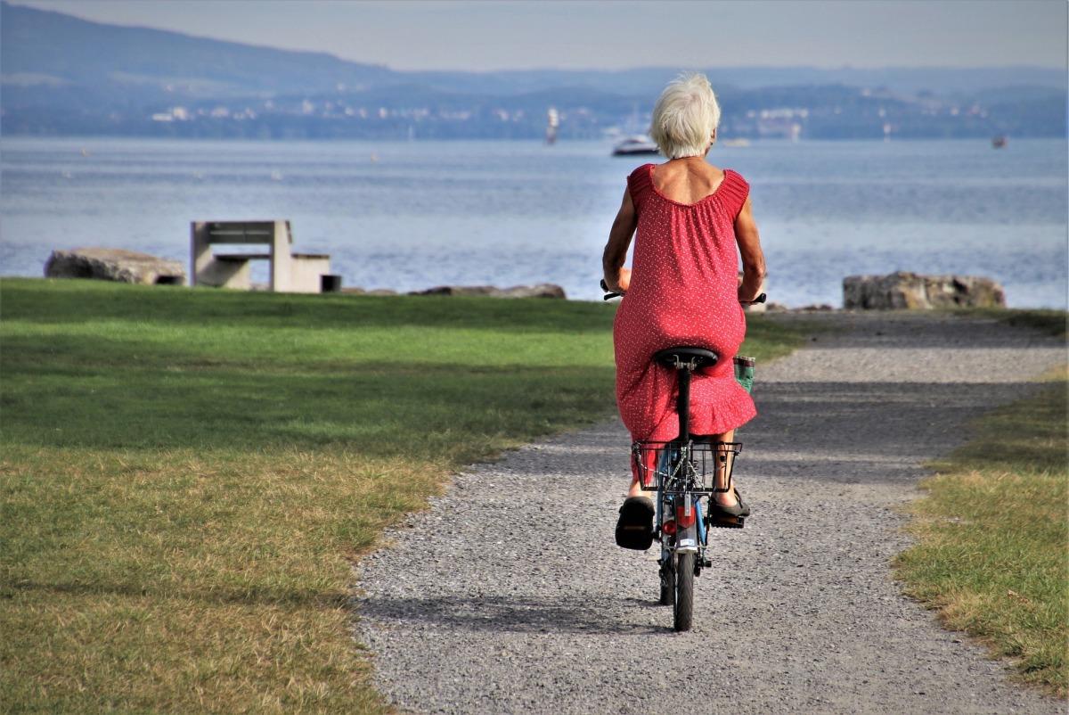biking, woman, elderly, exercise