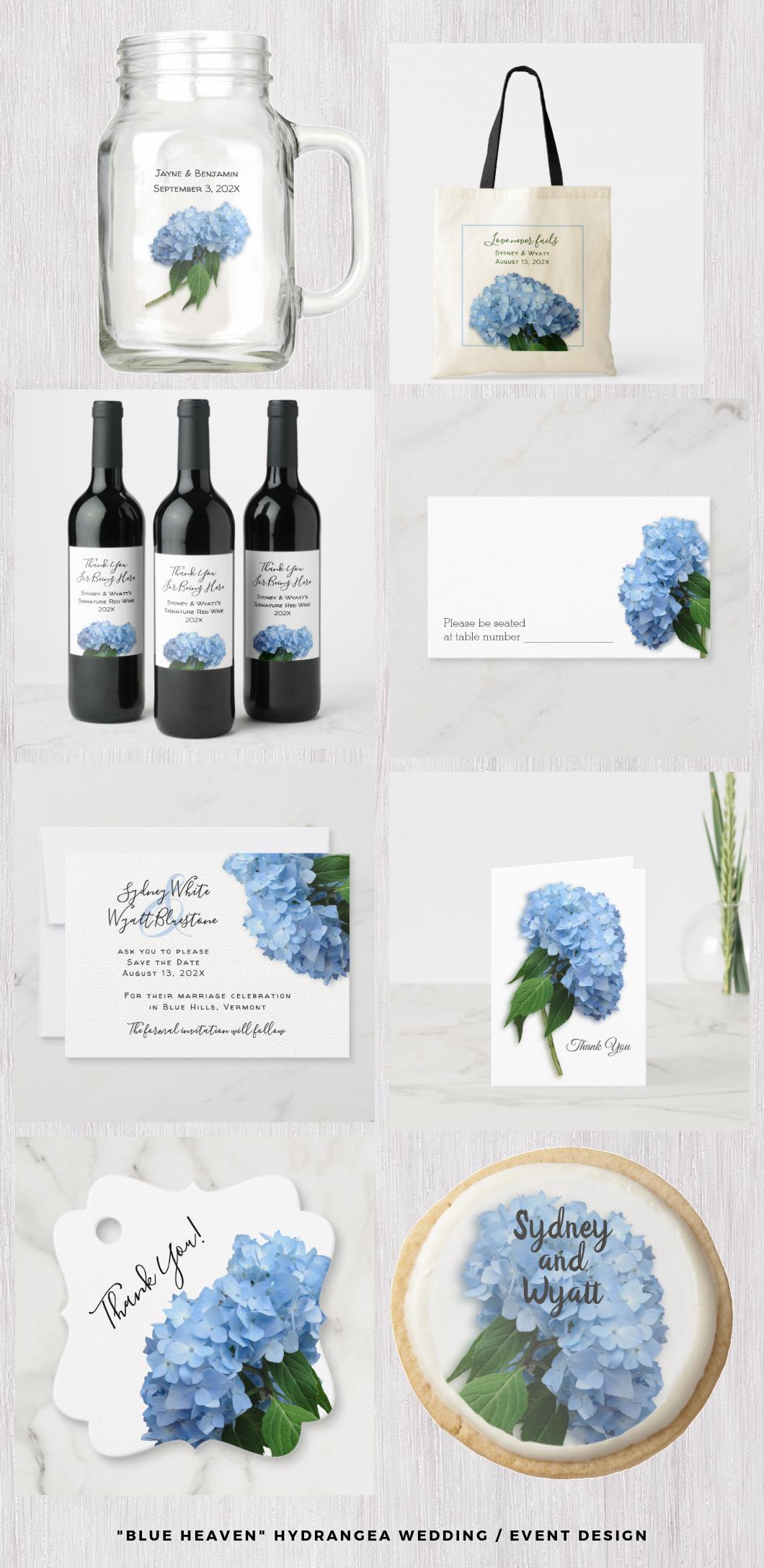 Light blue hydrangea wedding stationery set Blue Heaven