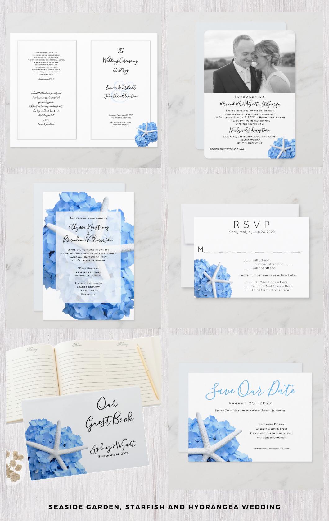 Seaside Garden blue hydrangea wedding with starfish